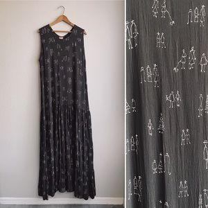 Dark Brown Figural Printed Maxi Dress